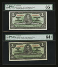 Canadian Currency: , BC-21c $1 1937 Two Examples. ... (Total: 2 notes)