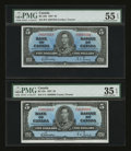 Canadian Currency: , BC-23b $5 1937 Two Examples. ... (Total: 2 notes)