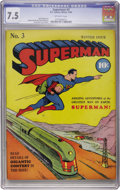 Golden Age (1938-1955):Superhero, Superman #3 (DC, 1940) CGC VF- 7.5 Off-white pages....