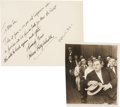 Movie/TV Memorabilia:Autographs and Signed Items, Fatty Arbuckle Handwritten Note with Photo.... (Total: 2 Items)