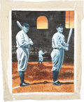 Baseball Collectibles:Others, Ty Cobb And Babe Ruth Original Painting....