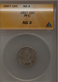 Early Dimes: , 1807 10C AG3 ANACS. JR-1. NGC Census: (9/201). PCGS Population(10/305). Mintage: 165,000. Numismedia Wsl. Price for probl...