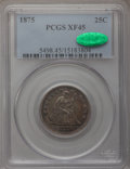 Seated Quarters: , 1875 25C XF45 PCGS. CAC. PCGS Population (5/259). NGC Census:(1/246). Mintage: 4,293,500. Numismedia Wsl. Price for proble...