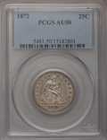 Seated Quarters: , 1872 25C AU50 PCGS. PCGS Population (4/28). NGC Census: (2/30).Mintage: 182,000. Numismedia Wsl. Price for problem free NG...