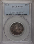 Seated Quarters: , 1841 25C AU53 PCGS. PCGS Population (1/23). NGC Census: (1/33).Mintage: 120,000. Numismedia Wsl. Price for problem free NG...