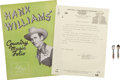 Music Memorabilia:Memorabilia, Hank Williams' Pins and Folio Book.... (Total: 5 Items)