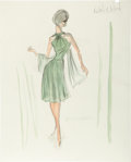 Movie/TV Memorabilia:Original Art, Edith Head's Costume Sketch of Natalie Wood from Love With theProper Stranger....
