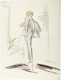 Movie/TV Memorabilia:Original Art, Edith Head's Costume Sketch of Lana Turner from Who's Got theAction?...