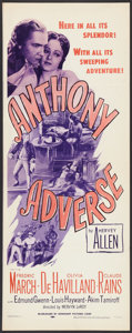 "Movie Posters:Adventure, Anthony Adverse (Dominant Pictures, R-1956). Insert (14"" X 36"").Adventure.. ..."