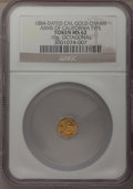 California Gold Charms, 1884-Dated Octagonal Arms of California Gold Charm MS62 NGC. 0.10 gm....