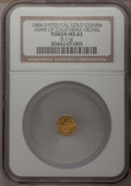 California Gold Charms, 1884-Dated Octagonal Arms of California Gold Charm MS63 NGC. 0.11gm....