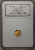 California Gold Charms, 1884-Dated Octagonal Arms of California Gold Charm MS65 NGC. 0.22 gm....