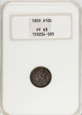 Proof Seated Half Dimes, 1859 H10C PR63 NGC....