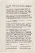 Music Memorabilia:Autographs and Signed Items, Louis Armstrong Signed Agreement....