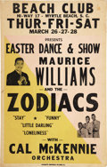 Music Memorabilia:Posters, Maurice Williams and the Zodiacs Beach Club Concert Poster (circa1964)....