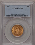 Liberty Half Eagles: , 1907 $5 MS64 PCGS. PCGS Population (605/98). NGC Census: (762/170).Mintage: 626,192. Numismedia Wsl. Price for problem fre...