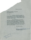 Music Memorabilia:Autographs and Signed Items, Leopold Stokowski Signed Agreement....