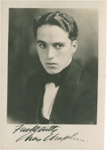 Movie/TV Memorabilia:Autographs and Signed Items, Charlie Chaplin Signed Rare Early Photo....