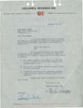 Music Memorabilia:Autographs and Signed Items, Pearl Bailey Signed Agreement....
