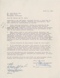 Movie/TV Memorabilia:Autographs and Signed Items, Dean Martin and Jerry Lewis Signed Agreement....