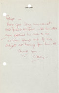 Movie/TV Memorabilia:Autographs and Signed Items, Cary Grant Handwritten Note....