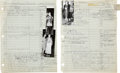Movie/TV Memorabilia:Documents, The Graduate and Rosemary's Baby Costume DepartmentWorksheets.... (Total: 2 Items)