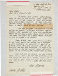 Music Memorabilia:Autographs and Signed Items, Woody Guthrie Handwritten Letter....