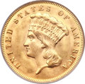 Three Dollar Gold Pieces, 1874 $3 MS64 PCGS....