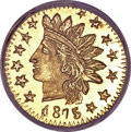 California Fractional Gold, 1875 25C Indian Round 25 Cents, BG-878, R.3, MS67 Deep MirrorProoflike NGC....