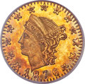 California Fractional Gold, 1876 25C Liberty Round 25 Cents, BG-855, R.7, MS65 NGC....