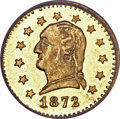 California Fractional Gold, 1872 25C Washington Round 25 Cents, BG-818, Low R.4, MS65 NGC....