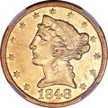 Liberty Half Eagles, 1848-C $5 AU55 NGC....