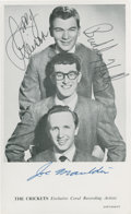 Music Memorabilia:Autographs and Signed Items, Buddy Holly & The Crickets Band-Signed Postcard....