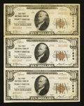 Fort Smith, AR - $10 1929 Ty. 2 The First NB Ch. # 1950 Uncut Strip of Three