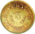 Territorial Gold, (1837-42) $5 C. Bechtler Five Dollar, 134G, With Star MS61 PCGS....