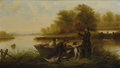 Paintings, Continental School. . Untitled, Duck Hunters with Dogs. 20th century. Oil on canvas. Unsigned. 25-1/2 x 39-1/2 inches. ...