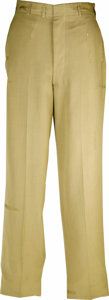 "Movie/TV Memorabilia:Costumes, Frank Sinatra Costume Trousers From ""Some Came Running."" This pair of khaki U.S. Army uniform trousers was worn by Frank Sin... (Total: 1 Item)"