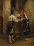 Fine Art - Painting, European:Antique  (Pre 1900), MARIANO FORTUNY (Spanish 1838 - 1874). Conversation in aCourtyard. Oil on canvas. 6 x 4-5/8 inches. Signed lowerright...