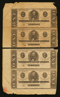 Confederate Notes:1863 Issues, T62 $1 1863 Vertical Strip of Two Plate Letter A-B. T62 $1 1863 Vertical Strip of Two Plate Letter C-D. T62 $1 1863 Vertical S... (Total: 3 items)