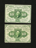 Fractional Currency:First Issue, Fr. 1241 and 1243 10¢ First Issue About New Notes.... (Total: 2 notes)