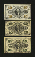 Fractional Currency:Third Issue, Three 10¢ Third Issue Notes.... (Total: 3 notes)