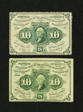 Fractional Currency:First Issue, Fr. 1240 and Fr. 1242 10¢ First Issue Notes Extremely Fine.... (Total: 2 notes)