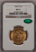 Liberty Eagles: , 1900-S $10 MS61 NGC. CAC. NGC Census: (22/22). PCGS Population(19/47). Mintage: 81,000. Numismedia Wsl. Price for problem ...