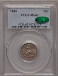 Seated Dimes: , 1845 10C MS62 PCGS. CAC. PCGS Population (13/40). NGC Census:(21/65). Mintage: 1,755,000. Numismedia Wsl. Price for proble...