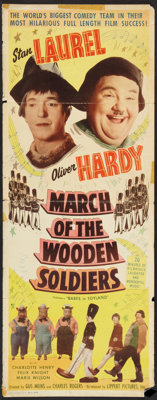 """Babes in Toyland (Lippert, R-1950). Insert (14"""" X 36""""). Comedy. Reissued as March of the Wooden Soldiers"""
