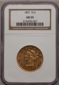 Liberty Eagles: , 1857 $10 AU55 NGC. NGC Census: (19/27). PCGS Population (3/4).Mintage: 16,606. Numismedia Wsl. Price for problem free NGC/...