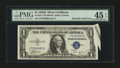 Error Notes:Attached Tabs, Fr. 1611 $1 1935B Silver Certificate. PMG Choice Extremely Fine 45EPQ.. ...
