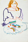 Music Memorabilia:Original Art, Joni Mitchell Untitled Portrait Original Art (circa 1969)....