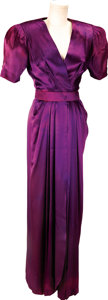 Movie/TV Memorabilia:Costumes, Nolan Miller The Two Mrs. Grenvilles Satin Crepe EveningGown Worn by Ann-Margret, with Costume Sketch....