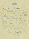 Movie/TV Memorabilia:Autographs and Signed Items, Joan Crawford Signed Letter.... (Total: 3 Items)